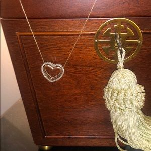 Double heart gold diamond necklace